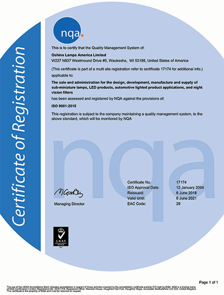 UKAS accredited Quality Management System