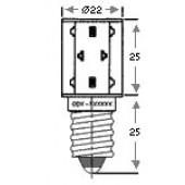 E14 Multi LED Green 24